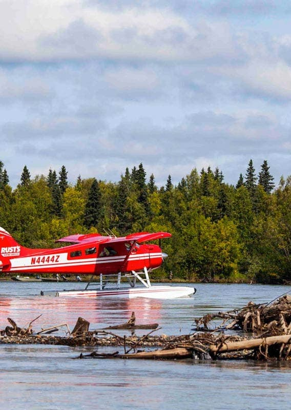 Take a scenic flight from Anchorage to Brooks Falls in Katmai National Park