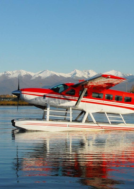 Take a scenic flight from Anchorage to Redoubt Bay Lodge