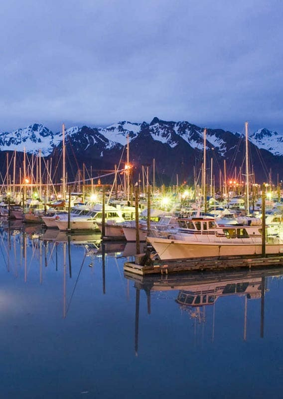 Seward harbour at dusk