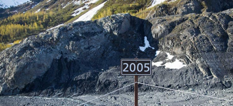 2005 marker at Exit Glacier