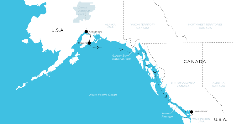 Cruise path from Vancouver to Alaska with land tour to Anchorage