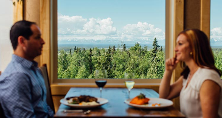 Dinner with a view of the Alaska Range mountains.