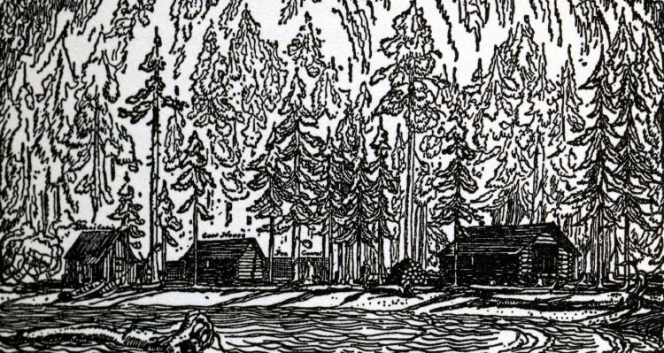 An illustration of wooden cabins between water and a forest.