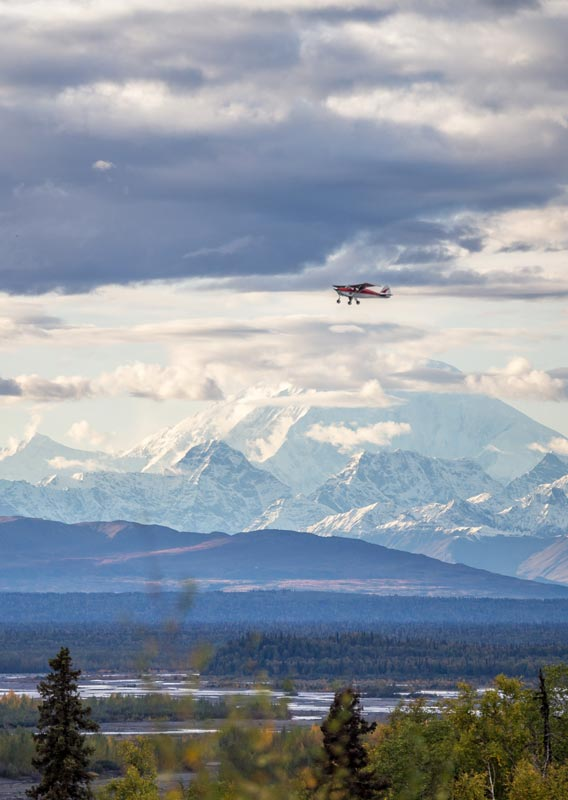 A plane flies above the tundra with Denali in the distance