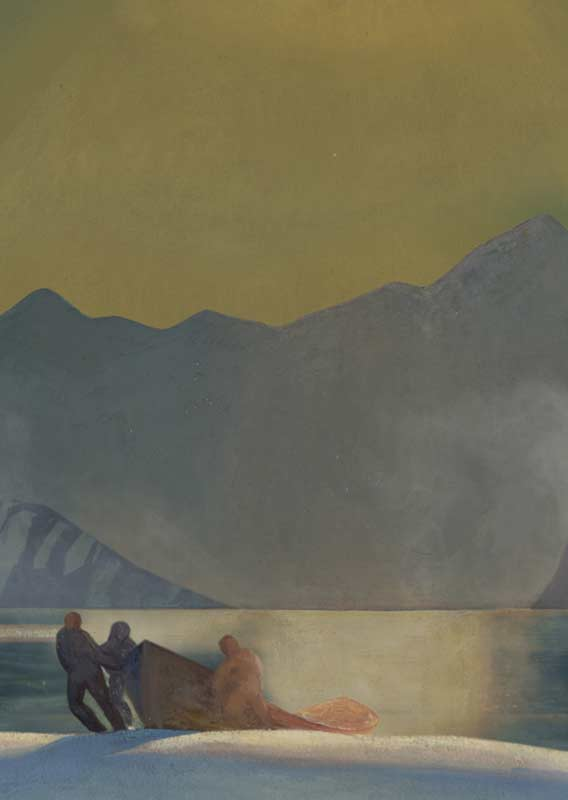 Rockwell Kent painting of 3 figures pulling boat onto beach with sunset skies &towering mountains
