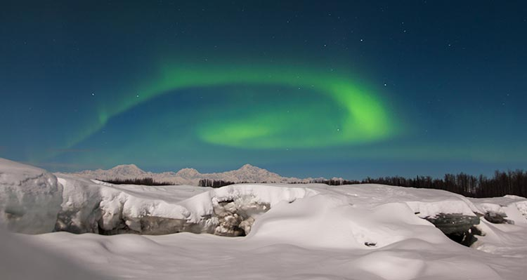 Green northern lights dance above a snowy landscape.