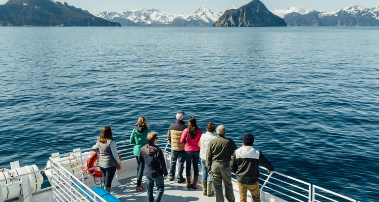 A small group of people stand at the edge of a boat railing looking towards green and snowy islands.