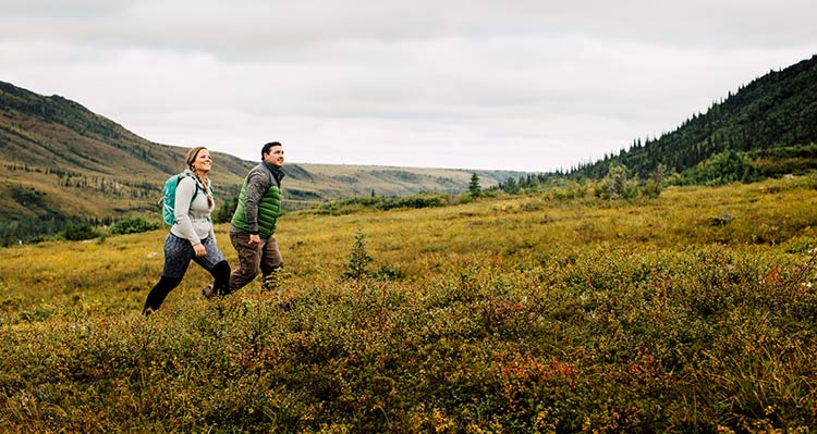 Two people walk on a tundra meadow.