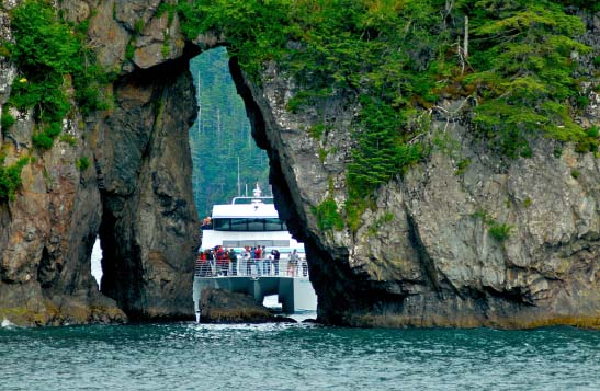People stand on a boat surrounded by foliage-covered cliffs