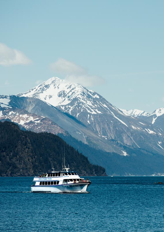 A Kenai Fjords Tours boat cruises between high cliffs.